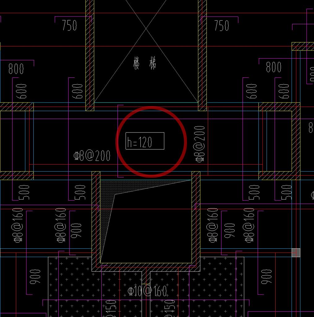 图纸中标注的板厚h=120mm,也就是12公分/厘米。